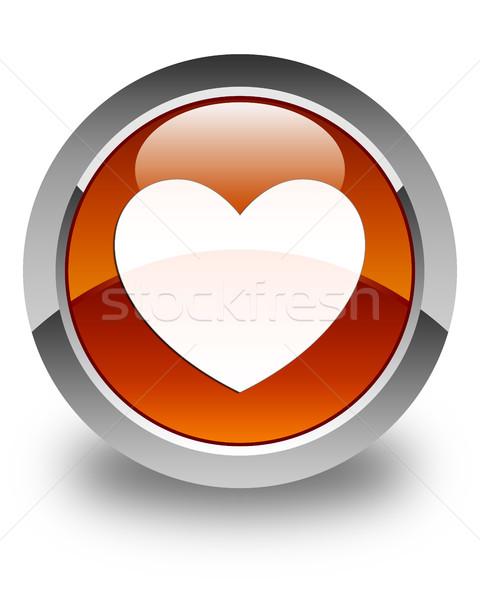 Szív ikon fényes barna gomb boldog Stock fotó © faysalfarhan