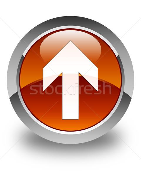 Upload arrow icon glossy brown round button Stock photo © faysalfarhan