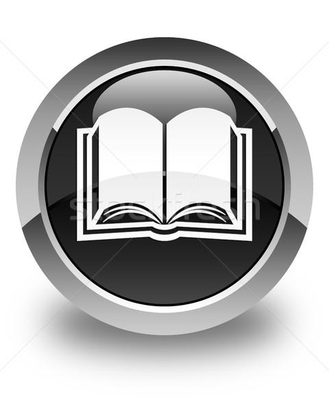 Kitap ikon parlak siyah düğme kâğıt Stok fotoğraf © faysalfarhan