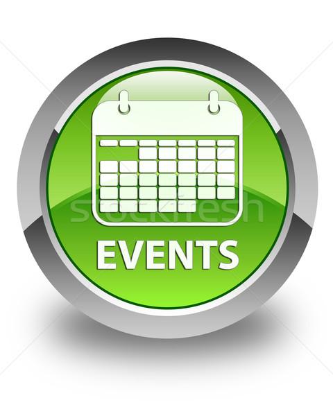 Events glossy green round button Stock photo © faysalfarhan