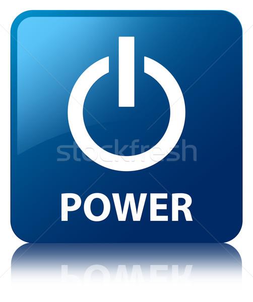 Power glossy blue reflected square button Stock photo © faysalfarhan