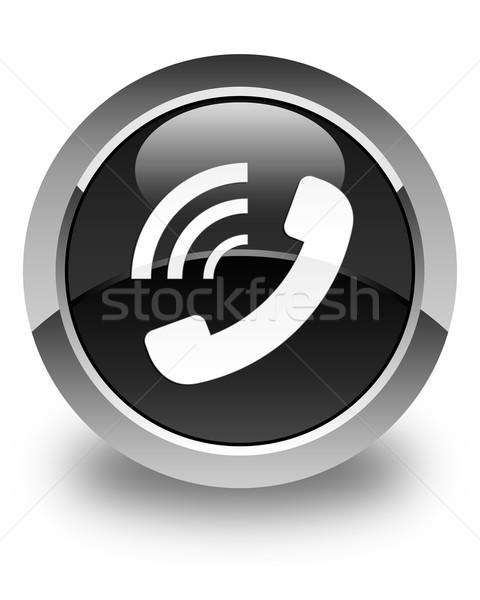 Phone ringing icon glossy black round button Stock photo © faysalfarhan
