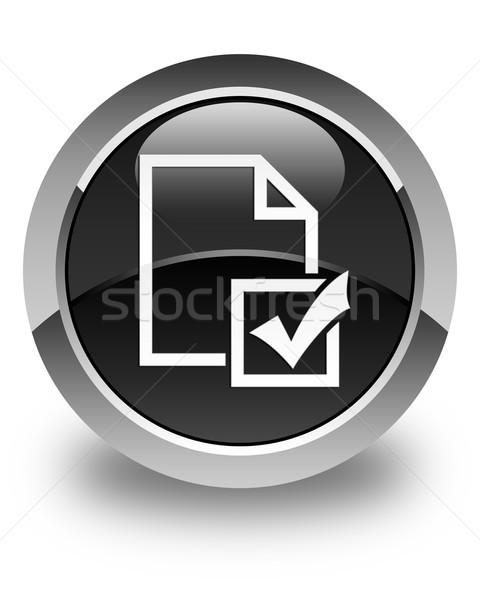 Badanie ikona czarny przycisk działalności Zdjęcia stock © faysalfarhan