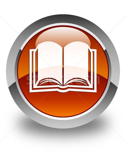 Book icon glossy brown round button Stock photo © faysalfarhan