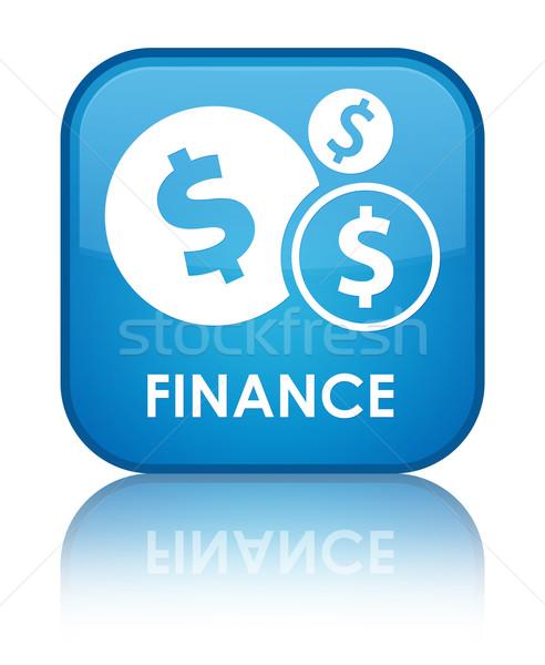 Finanse dolar parlak mavi kare düğme Stok fotoğraf © faysalfarhan