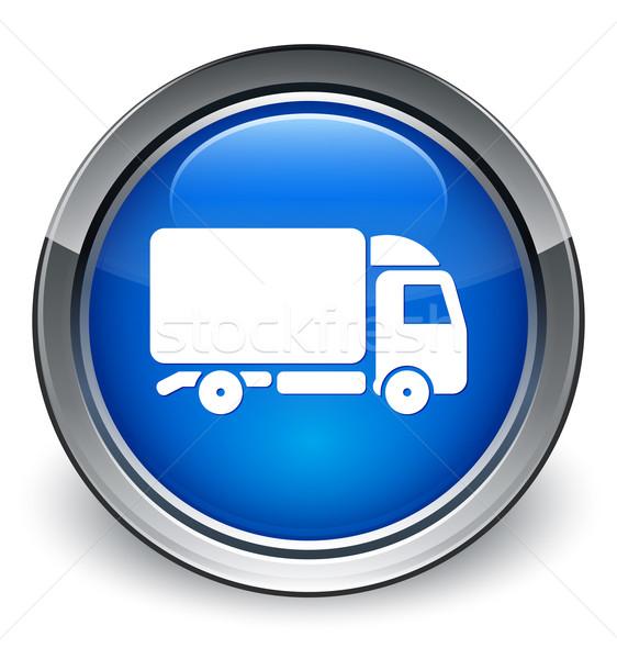 Teherautó ikon fényes kék gomb nem Stock fotó © faysalfarhan