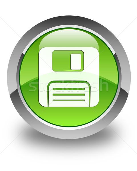 Floppy disk icon glossy green round button Stock photo © faysalfarhan
