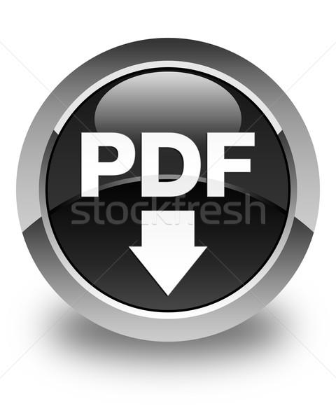Pdf simgesi indir parlak siyah düğme imzalamak Stok fotoğraf © faysalfarhan