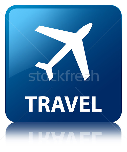 Travel glossy blue reflected square button Stock photo © faysalfarhan