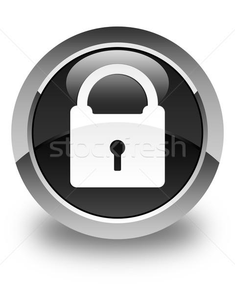 Padlock icon glossy black round button Stock photo © faysalfarhan