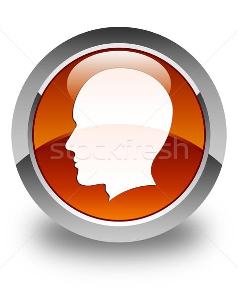 Fej férfi arc ikon fényes barna Stock fotó © faysalfarhan