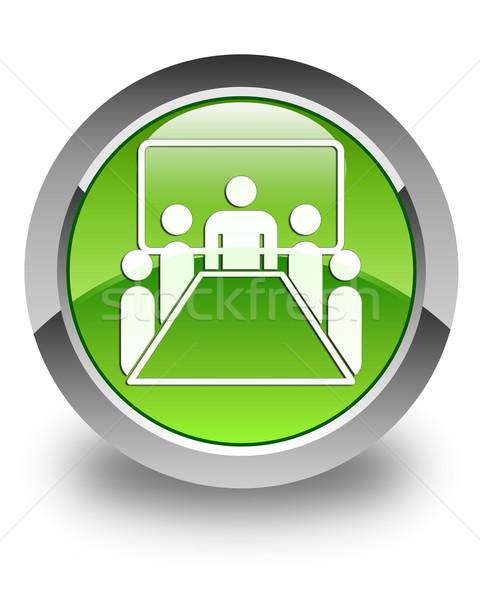 Meeting room icon glossy green round button Stock photo © faysalfarhan