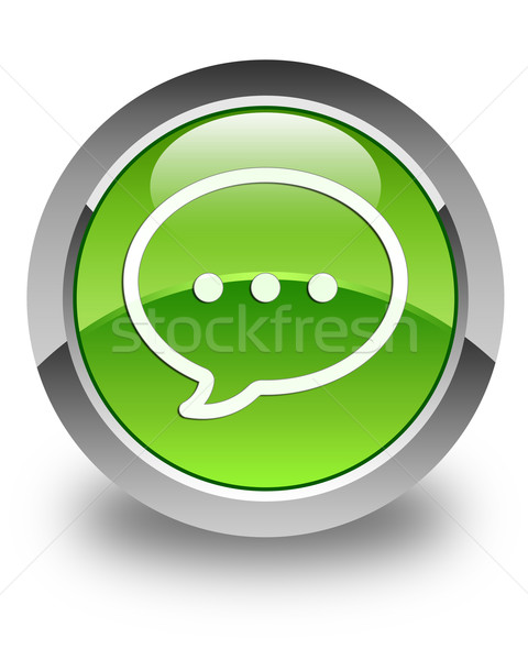 Talk icon glossy green round button Stock photo © faysalfarhan