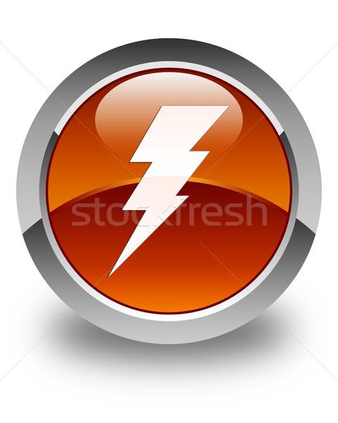 Elektrycznej ikona brązowy przycisk internetowych Zdjęcia stock © faysalfarhan