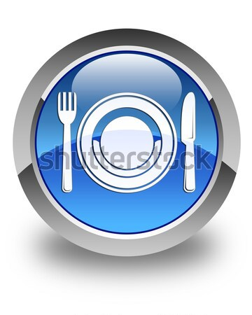 Plate with fork and knife icon glossy blue button Stock photo © faysalfarhan