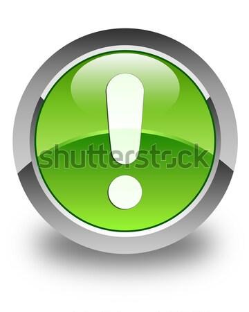 Exclamation mark icon glossy green round button Stock photo © faysalfarhan