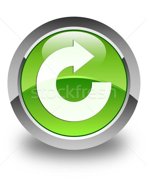 Reply arrow icon glossy green round button Stock photo © faysalfarhan