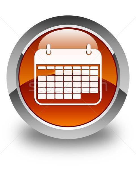 Takvim ikon parlak kahverengi düğme ofis Stok fotoğraf © faysalfarhan