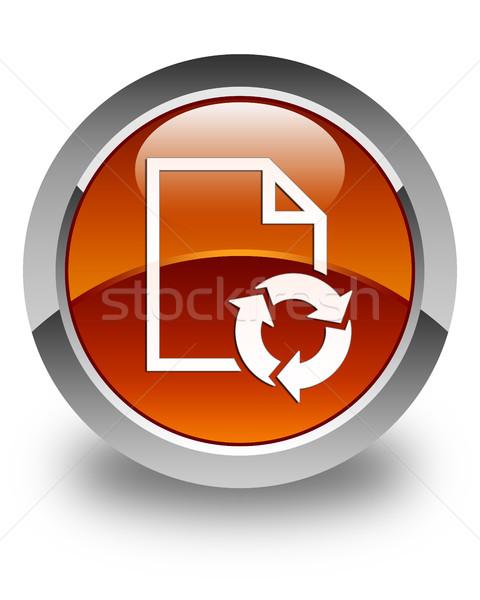 Document process icon glossy brown round button Stock photo © faysalfarhan