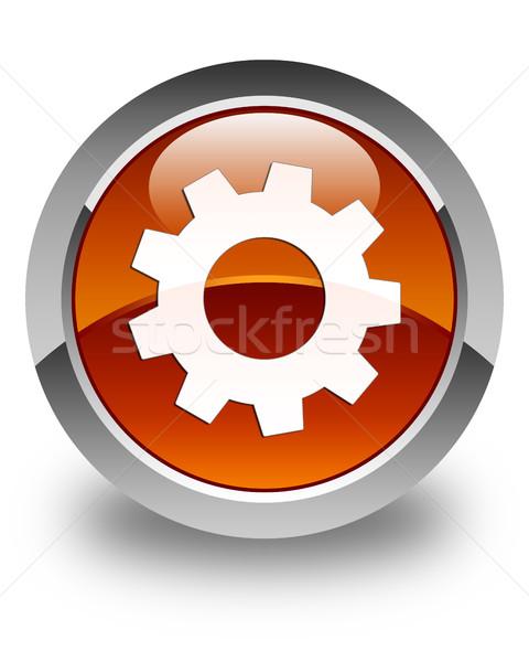 Processus icône brun bouton signe Photo stock © faysalfarhan
