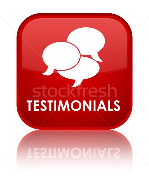 Testimonials glossy red reflected square button Stock photo © faysalfarhan