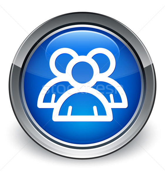 Group people icon glossy blue button Stock photo © faysalfarhan