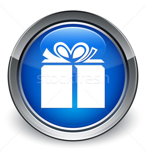 Gift box icon glossy blue button Stock photo © faysalfarhan