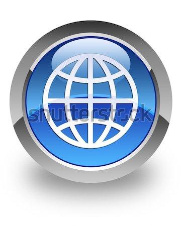 World icon glossy blue button Stock photo © faysalfarhan