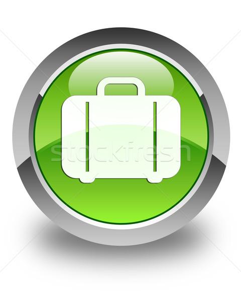Bag icon glossy green round button Stock photo © faysalfarhan