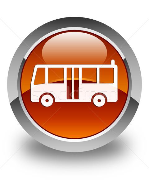 Otobüs ikon parlak kahverengi düğme yol Stok fotoğraf © faysalfarhan