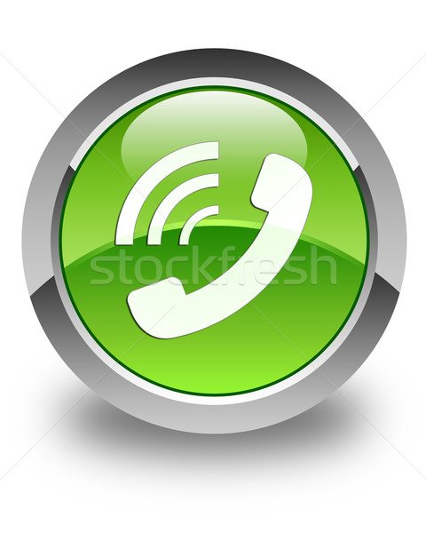 Phone ringing icon glossy green round button Stock photo © faysalfarhan