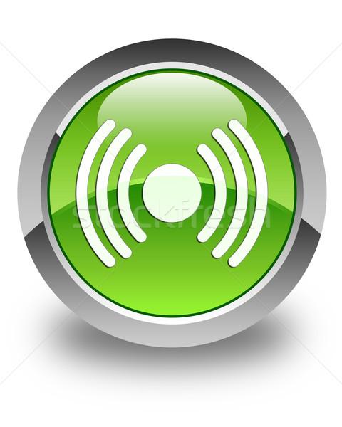 Hálózat jel ikon fényes zöld gomb Stock fotó © faysalfarhan