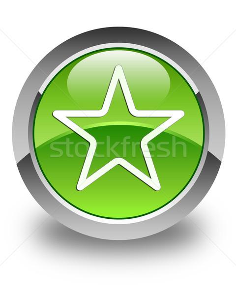 Stok fotoğraf: Star · ikon · parlak · yeşil · düğme · sevmek