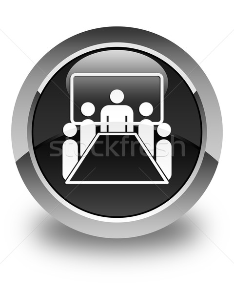 Meeting room icon glossy black round button Stock photo © faysalfarhan