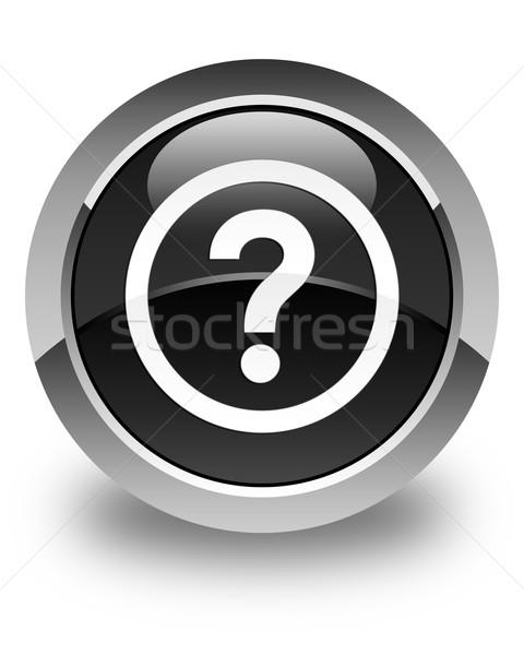 Kérdés ikon fényes fekete gomb felirat Stock fotó © faysalfarhan