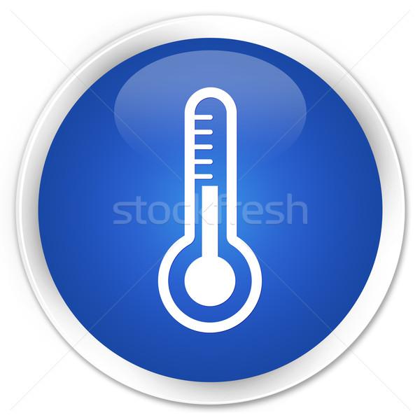 Termometre ikon mavi düğme tıbbi web Stok fotoğraf © faysalfarhan