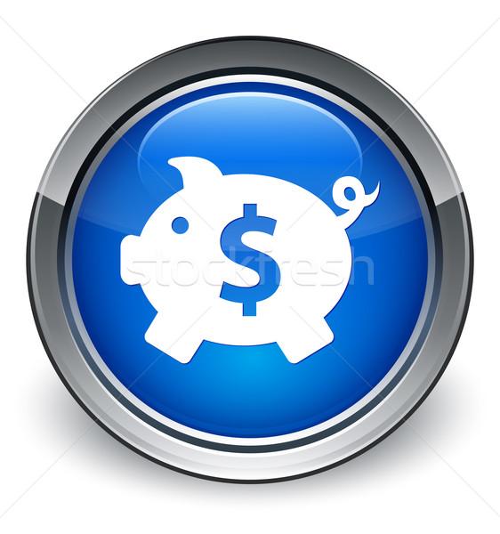 Piggy bank (dollar sign) icon glossy blue button Stock photo © faysalfarhan
