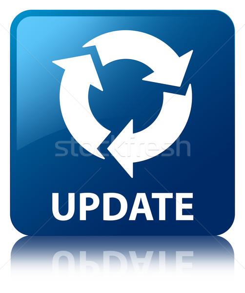 Update (refresh icon) glossy blue reflected square button Stock photo © faysalfarhan