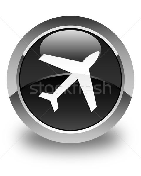 Plane icon glossy black round button Stock photo © faysalfarhan