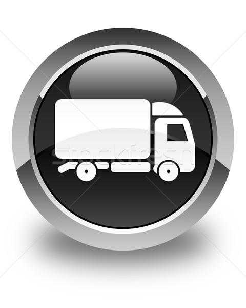 Truck icon glossy black round button Stock photo © faysalfarhan