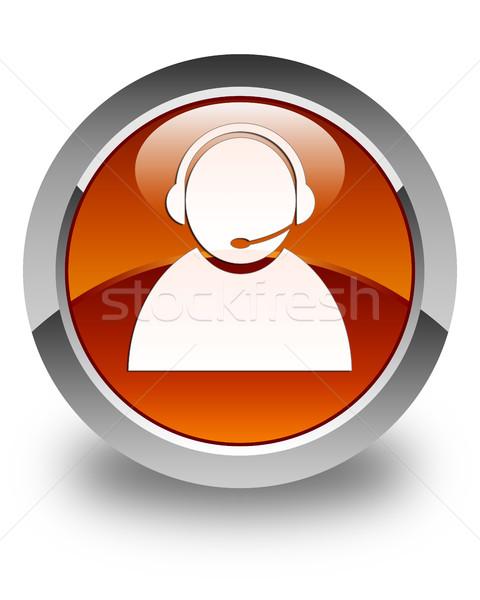 Customer care icon glossy brown round button Stock photo © faysalfarhan