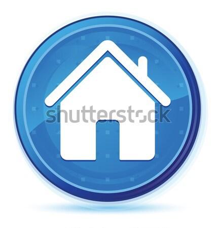 Stock foto: Home · Symbol · glänzend · blau · Platz · Taste