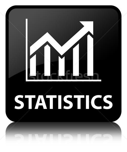 Statistics glossy black reflected square button Stock photo © faysalfarhan
