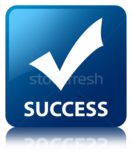 Success (validation icon) glossy blue reflected square button Stock photo © faysalfarhan