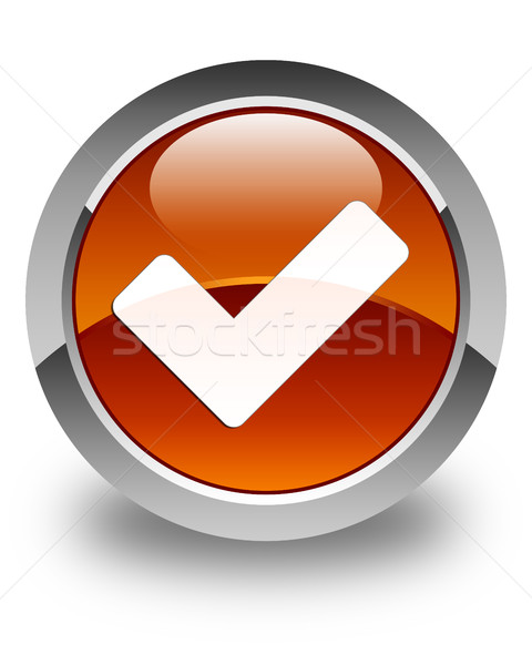 Validate icon glossy brown round button Stock photo © faysalfarhan
