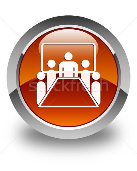 Meeting room icon glossy brown round button Stock photo © faysalfarhan