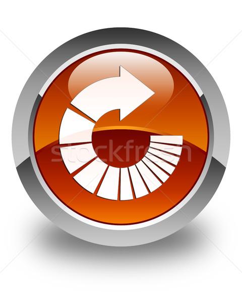 Rotate arrow icon glossy brown round button Stock photo © faysalfarhan