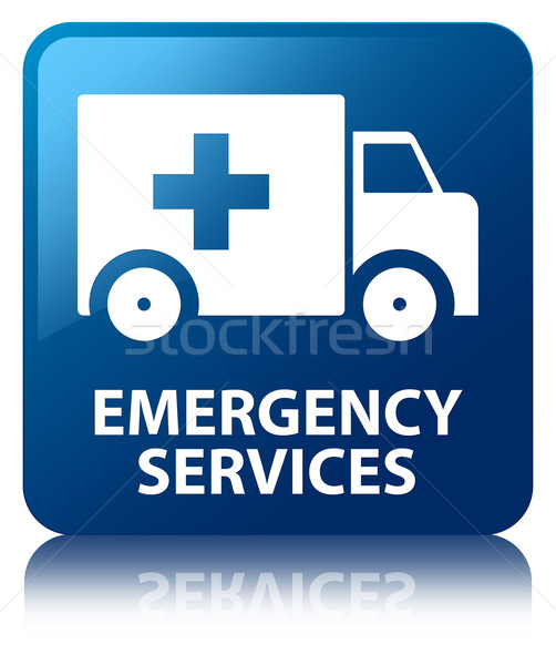 Stock photo: Emergency services glossy blue reflected square button