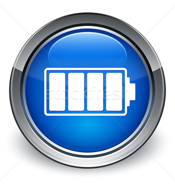 Battery icon glossy blue button Stock photo © faysalfarhan
