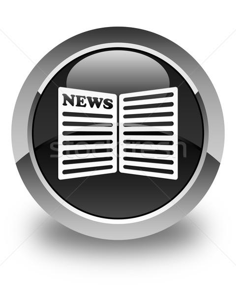 Jornal ícone preto botão e-mail Foto stock © faysalfarhan